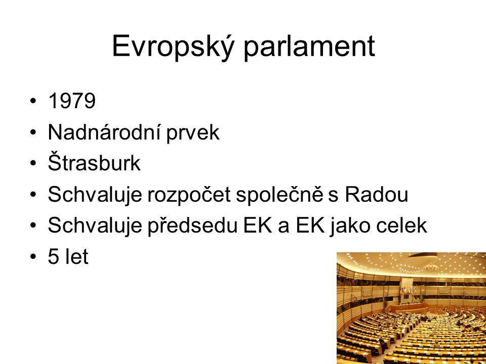 Evropský parlament 1979 Nadnárodní prvek Štrasburk Schvaluje rozpočet společně s Radou Schvaluje předsedu EK a EK jako celek 5 let