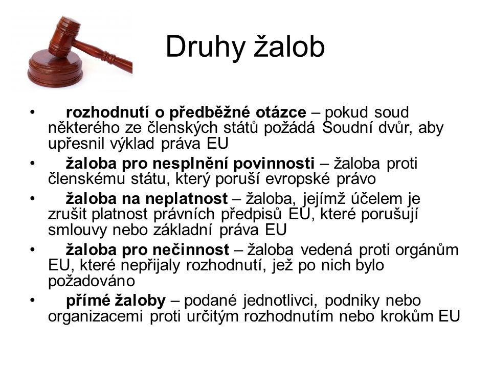 Druhy žalob rozhodnutí o předběžné otázce – pokud soud některého ze členských států požádá Soudní dvůr, aby upřesnil výklad práva EU žaloba pro nesplnění povinnosti – žaloba proti členskému státu, který poruší evropské právo žaloba na neplatnost – žaloba, jejímž účelem je zrušit platnost právních předpisů EU, které porušují smlouvy nebo základní práva EU žaloba pro nečinnost – žaloba vedená proti orgánům EU, které nepřijaly rozhodnutí, jež po nich bylo požadováno přímé žaloby – podané jednotlivci, podniky nebo organizacemi proti určitým rozhodnutím nebo krokům EU