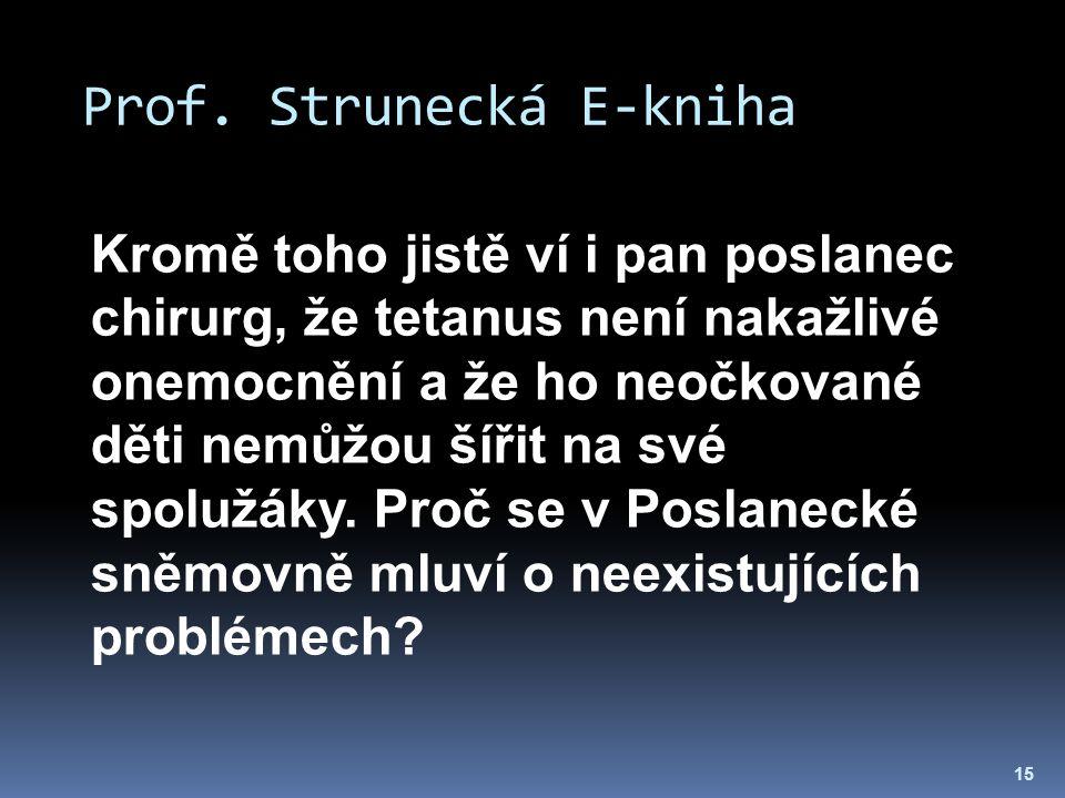 Prof. Strunecká E-kniha 15 Kromě toho jistě ví i pan poslanec chirurg, že tetanus není nakažlivé onemocnění a že ho neočkované děti nemůžou šířit na s