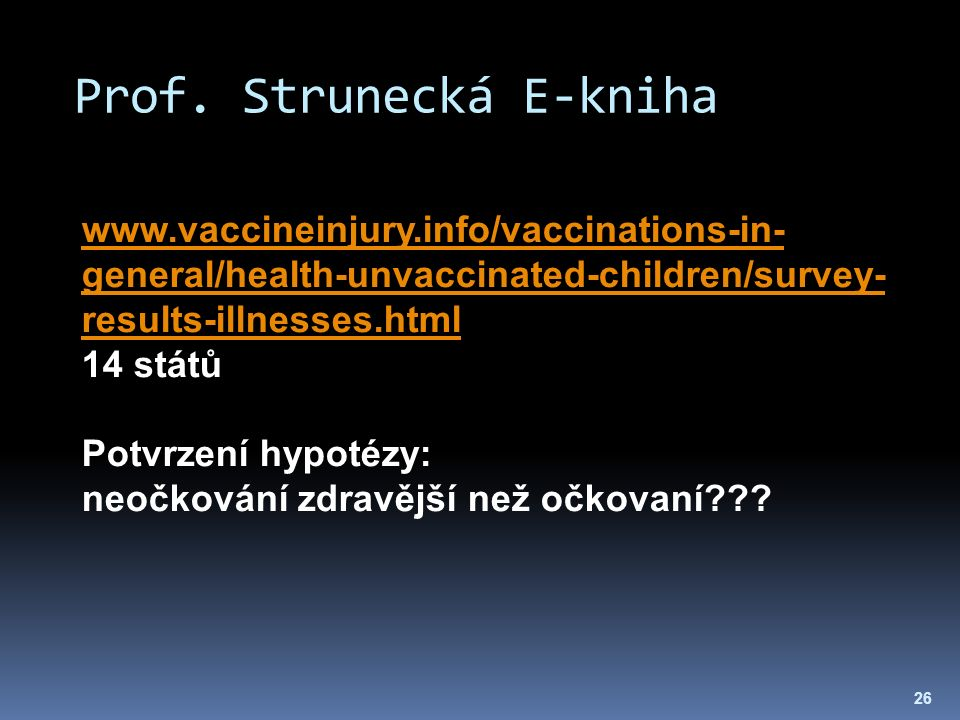 Prof. Strunecká E-kniha 26 www.vaccineinjury.info/vaccinations-in- general/health-unvaccinated-children/survey- results-illnesses.html 14 států Potvrz