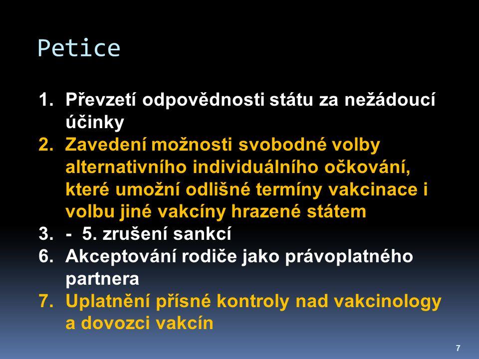 Petice 7 1.Převzetí odpovědnosti státu za nežádoucí účinky 2.Zavedení možnosti svobodné volby alternativního individuálního očkování, které umožní odl