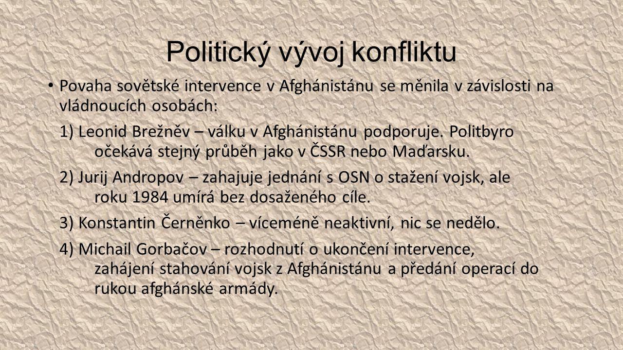 Politický vývoj konfliktu Povaha sovětské intervence v Afghánistánu se měnila v závislosti na vládnoucích osobách: 1) Leonid Brežněv – válku v Afghánistánu podporuje.