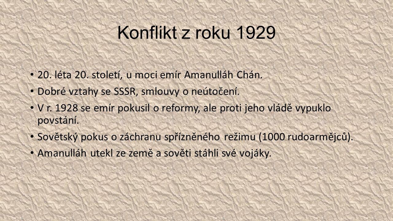 Konflikt z roku 1929 20. léta 20. století, u moci emír Amanulláh Chán.