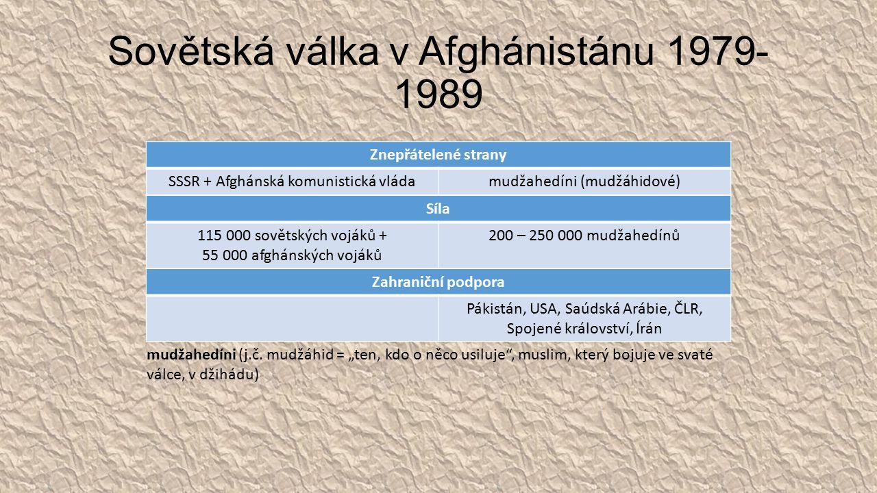 Sovětská válka v Afghánistánu 1979- 1989 Znepřátelené strany SSSR + Afghánská komunistická vládamudžahedíni (mudžáhidové) Zahraniční podpora Pákistán, USA, Saúdská Arábie, ČLR, Spojené království, Írán mudžahedíni (j.č.