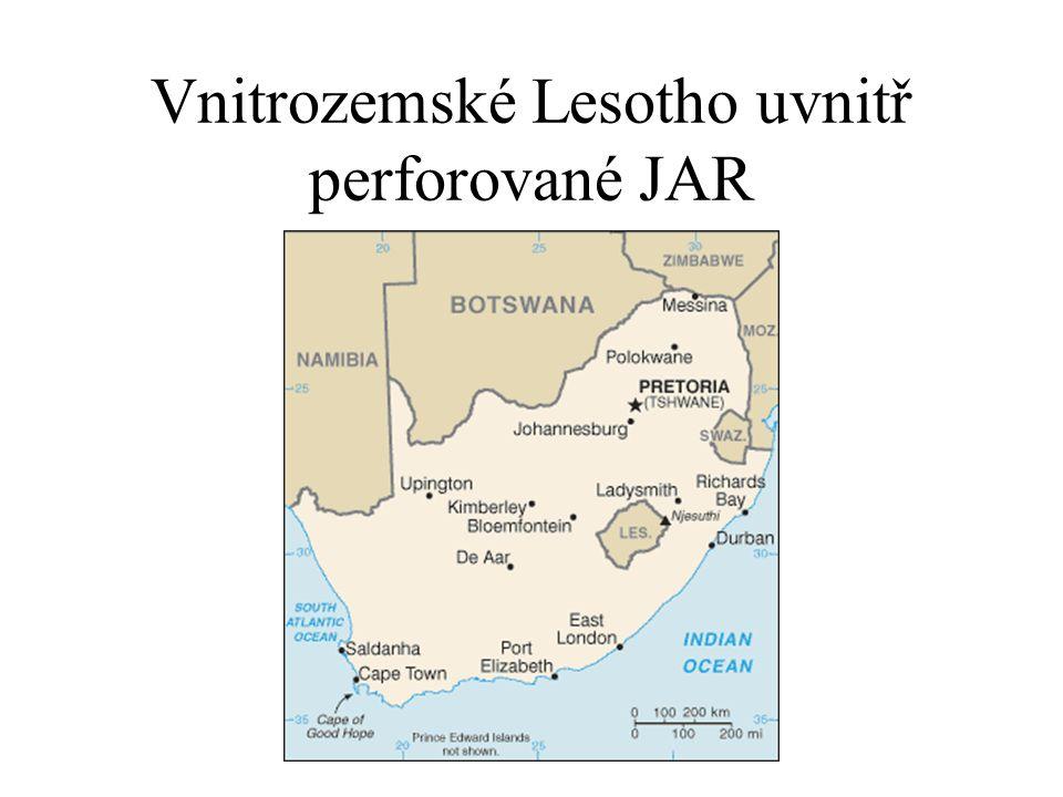 Vnitrozemské Lesotho uvnitř perforované JAR