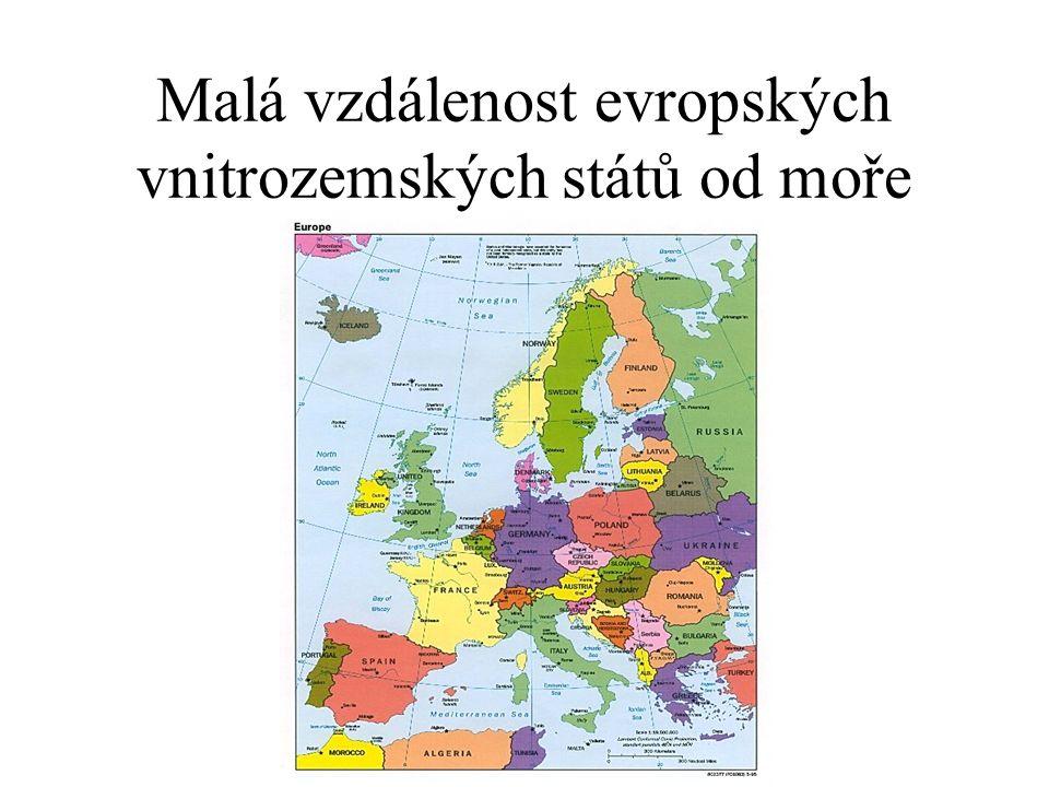 Malá vzdálenost evropských vnitrozemských států od moře