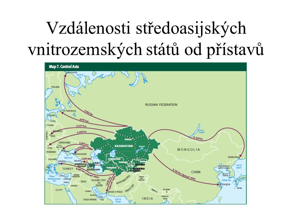 Vzdálenosti středoasijských vnitrozemských států od přístavů