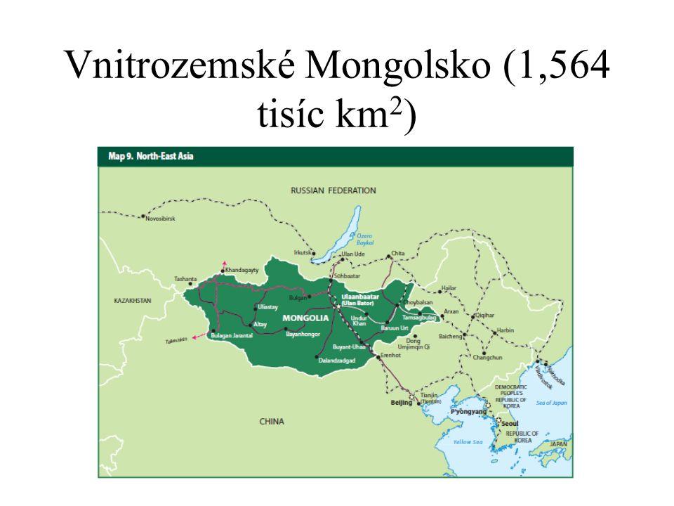 Vnitrozemské Mongolsko (1,564 tisíc km 2 )