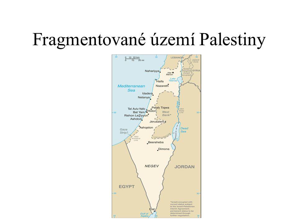Fragmentované území Palestiny