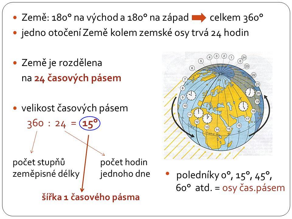 Země: 180° na východ a 180° na západ celkem 360° jedno otočení Země kolem zemské osy trvá 24 hodin Země je rozdělena na 24 časových pásem velikost časových pásem počet stupňů počet hodin zeměpisné délky jednoho dne šířka 1 časového pásma :360=2415° poledníky 0°, 15°, 45°, 60° atd.