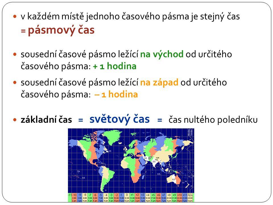 západ - 1 h světový čas východ + 1 h