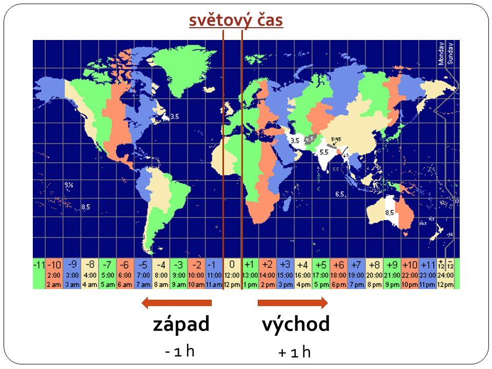 středoevropský čas = čas v časovém pásmu, jehož střed tvoří poledník 15°v.
