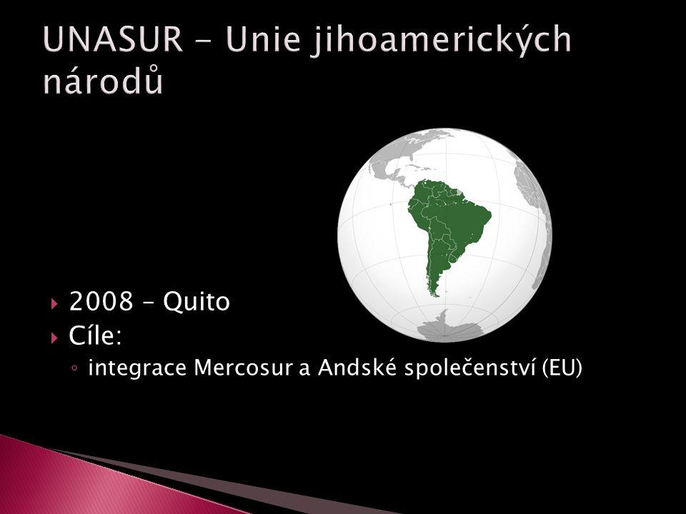  2008 – Quito  Cíle: ◦ integrace Mercosur a Andské společenství (EU)