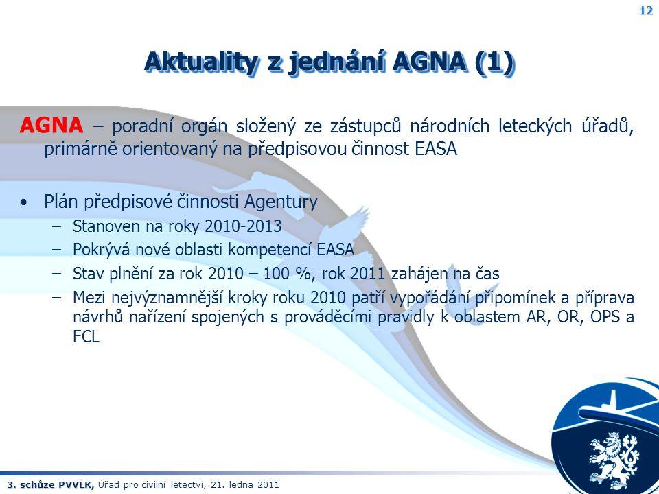 3. schůze PVVLK, 3. schůze PVVLK, Úřad pro civilní letectví, 21. ledna 2011 Aktuality z jednání AGNA (1) AGNA – poradní orgán složený ze zástupců náro