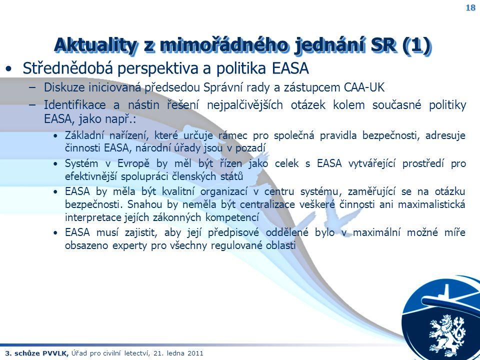 3. schůze PVVLK, 3. schůze PVVLK, Úřad pro civilní letectví, 21. ledna 2011 Aktuality z mimořádného jednání SR (1) Aktuality z mimořádného jednání SR