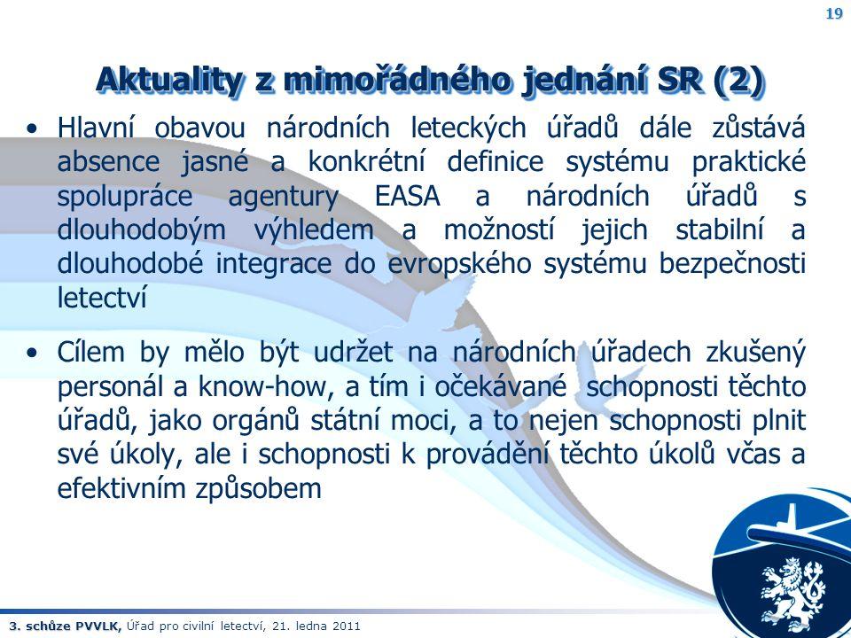 3. schůze PVVLK, 3. schůze PVVLK, Úřad pro civilní letectví, 21. ledna 2011 Aktuality z mimořádného jednání SR (2) Aktuality z mimořádného jednání SR