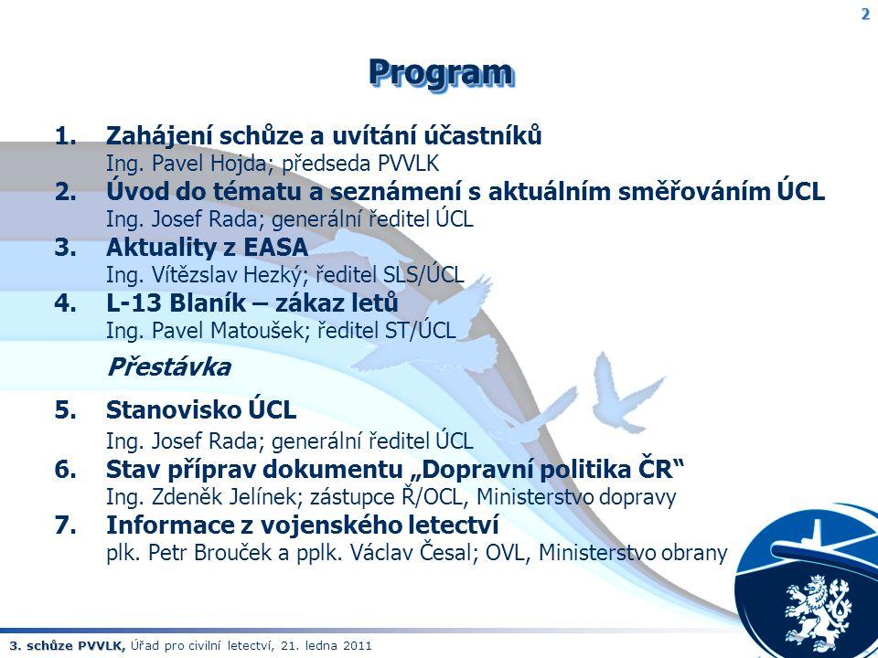 3. schůze PVVLK, 3. schůze PVVLK, Úřad pro civilní letectví, 21. ledna 2011 2ProgramProgram 1.Zahájení schůze a uvítání účastníků Ing. Pavel Hojda; př
