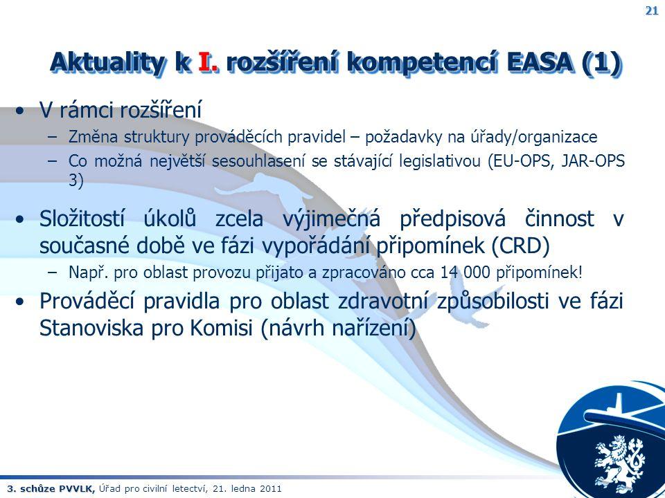 3. schůze PVVLK, 3. schůze PVVLK, Úřad pro civilní letectví, 21. ledna 2011 Aktuality k I. rozšíření kompetencí EASA (1) Aktuality k I. rozšíření komp
