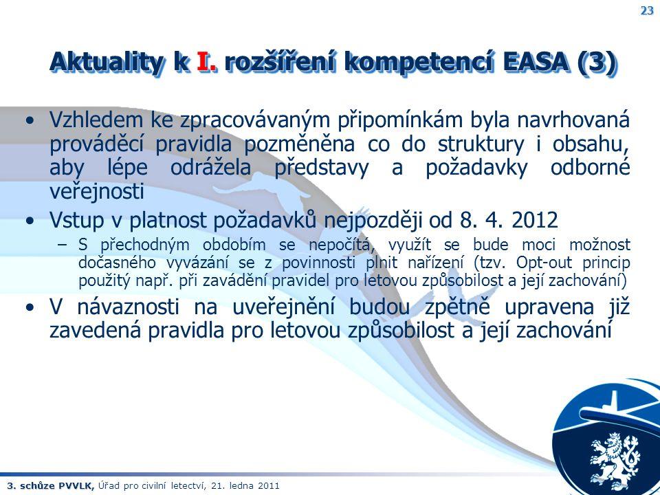 3. schůze PVVLK, 3. schůze PVVLK, Úřad pro civilní letectví, 21. ledna 2011 Aktuality k I. rozšíření kompetencí EASA (3) Aktuality k I. rozšíření komp