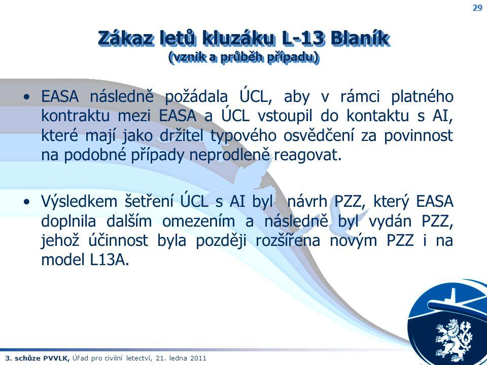 3. schůze PVVLK, 3. schůze PVVLK, Úřad pro civilní letectví, 21. ledna 2011 Zákaz letů kluzáku L-13 Blaník (vznik a průběh případu) EASA následně požá