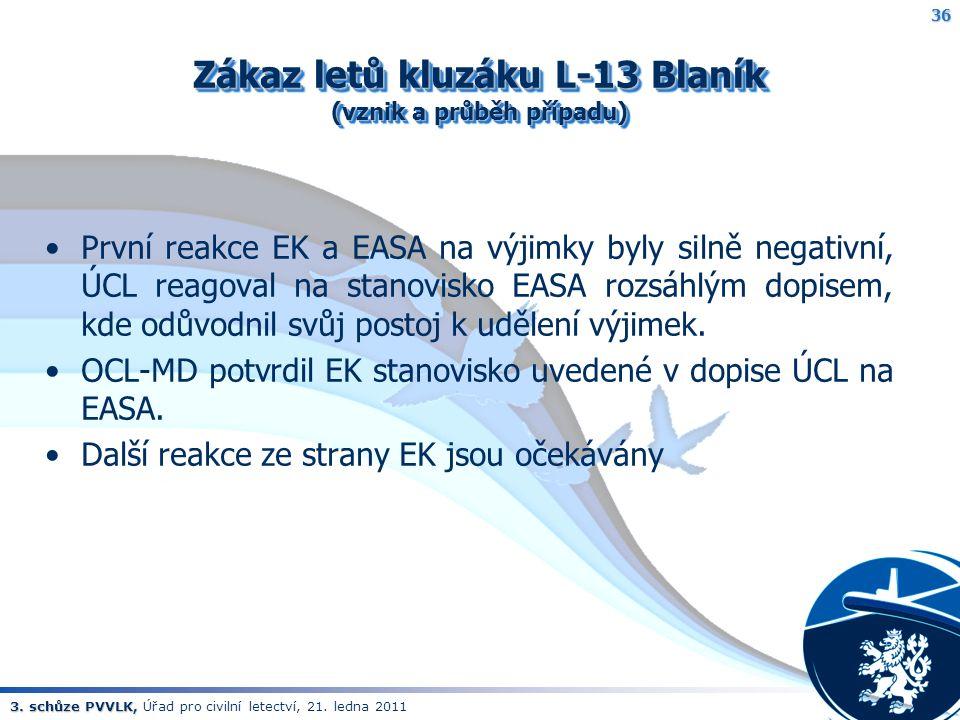 3. schůze PVVLK, 3. schůze PVVLK, Úřad pro civilní letectví, 21. ledna 2011 Zákaz letů kluzáku L-13 Blaník (vznik a průběh případu) První reakce EK a