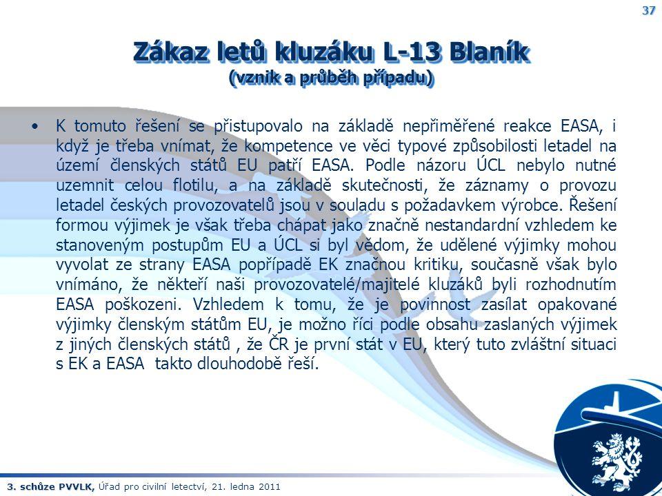 3. schůze PVVLK, 3. schůze PVVLK, Úřad pro civilní letectví, 21. ledna 2011 Zákaz letů kluzáku L-13 Blaník (vznik a průběh případu) K tomuto řešení se