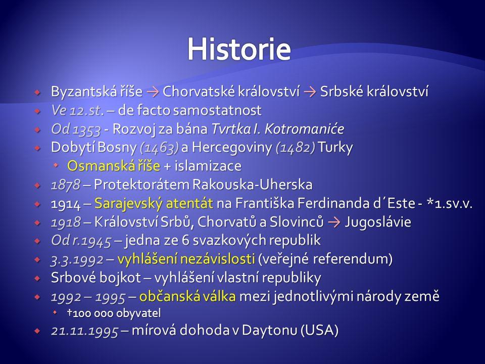  Byzantská říše → Chorvatské království → Srbské království  Ve 12.st.