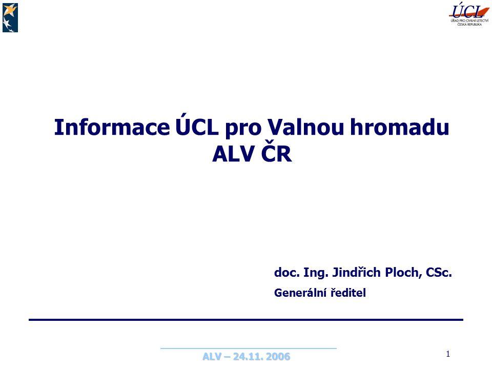 ALV – 24.11. 2006 1 Informace ÚCL pro Valnou hromadu ALV ČR doc.