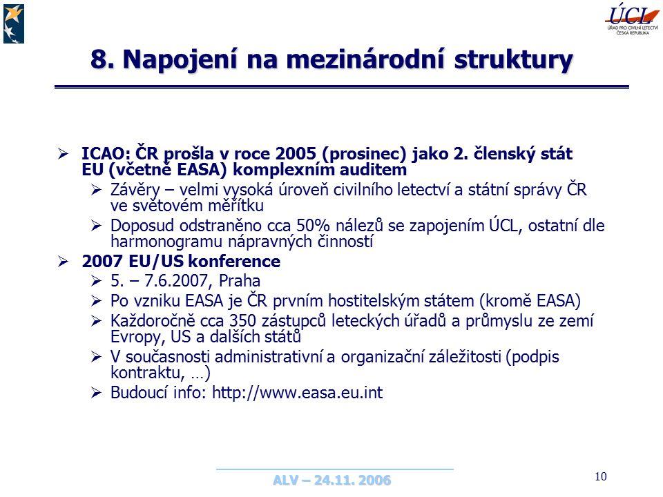 ALV – 24.11. 2006 10 8. Napojení na mezinárodní struktury  ICAO: ČR prošla v roce 2005 (prosinec) jako 2. členský stát EU (včetně EASA) komplexním au