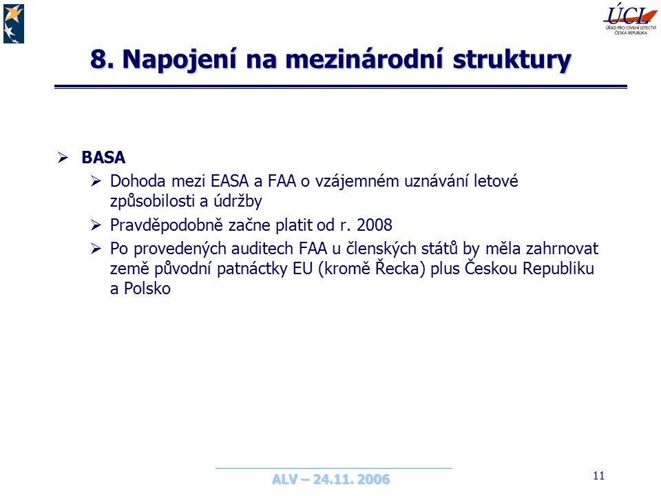 ALV – 24.11. 2006 11 8. Napojení na mezinárodní struktury  BASA  Dohoda mezi EASA a FAA o vzájemném uznávání letové způsobilosti a údržby  Pravděpo