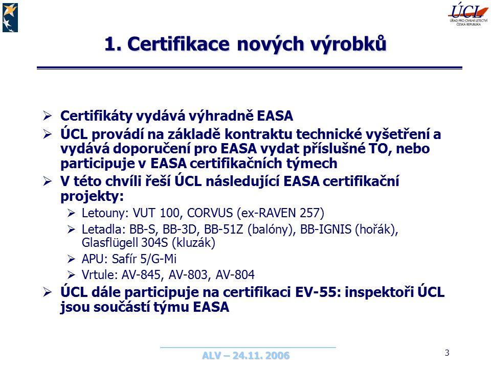 ALV – 24.11. 2006 3 1. Certifikace nových výrobků  Certifikáty vydává výhradně EASA  ÚCL provádí na základě kontraktu technické vyšetření a vydává d