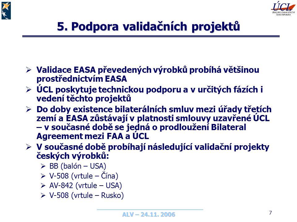 ALV – 24.11. 2006 7 5. Podpora validačních projektů  Validace EASA převedených výrobků probíhá většinou prostřednictvím EASA  ÚCL poskytuje technick