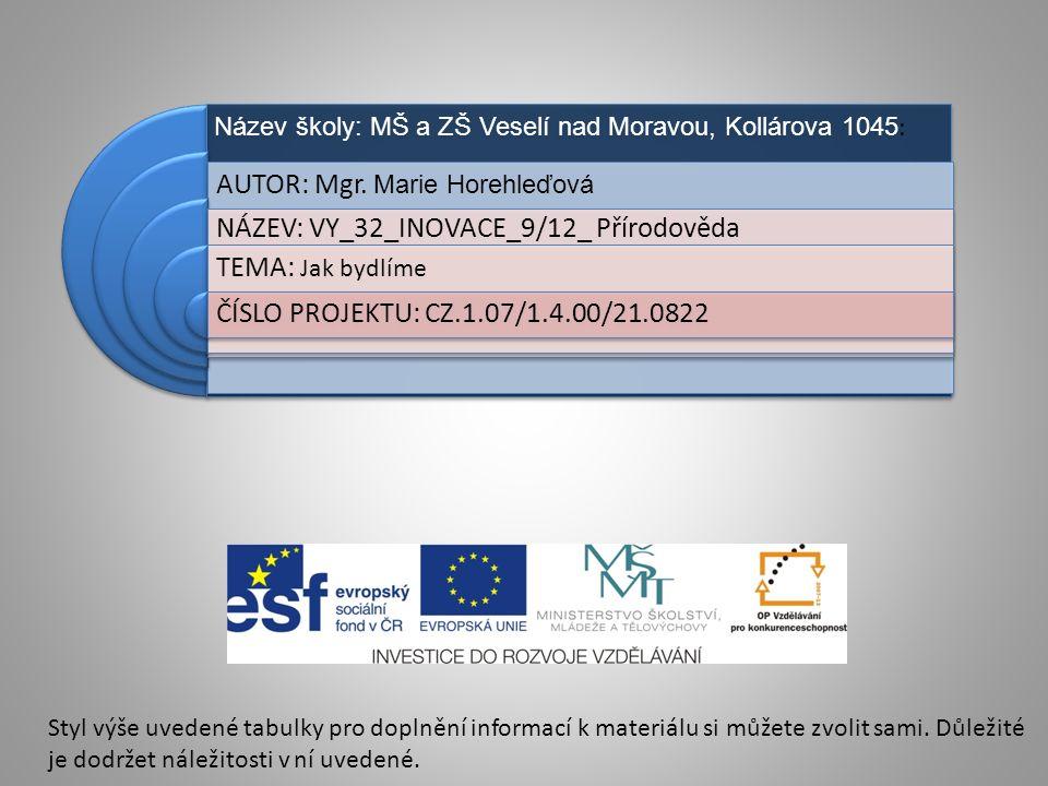 Název školy: MŠ a ZŠ Veselí nad Moravou, Kollárova 1045 : AUTOR: Mgr.
