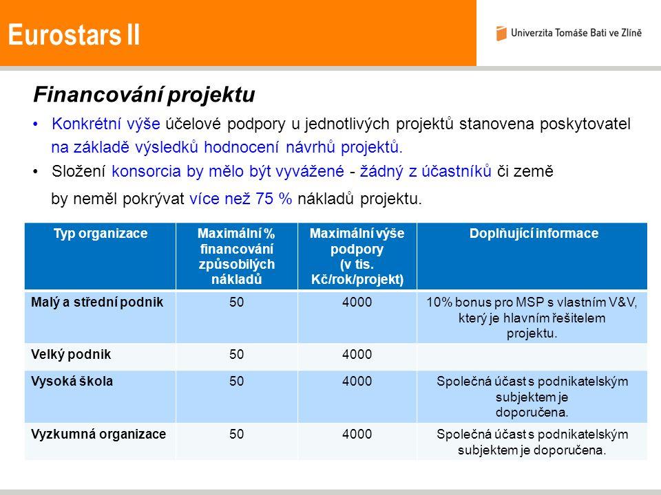 Eurostars II Financování projektu Konkrétní výše účelové podpory u jednotlivých projektů stanovena poskytovatel na základě výsledků hodnocení návrhů p