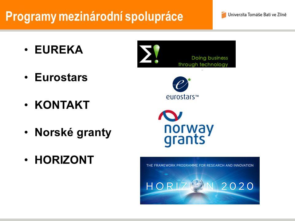 Programy mezinárodní spolupráce EUREKA Eurostars KONTAKT Norské granty HORIZONT
