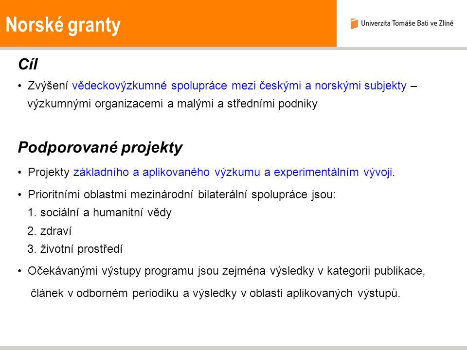 Norské granty Cíl Zvýšení vědeckovýzkumné spolupráce mezi českými a norskými subjekty – výzkumnými organizacemi a malými a středními podniky Podporova