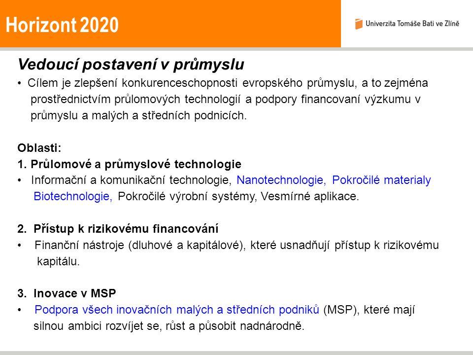 Horizont 2020 Vedoucí postavení v průmyslu Cílem je zlepšení konkurenceschopnosti evropského průmyslu, a to zejména prostřednictvím průlomových technologií a podpory financovaní výzkumu v průmyslu a malých a středních podnicích.