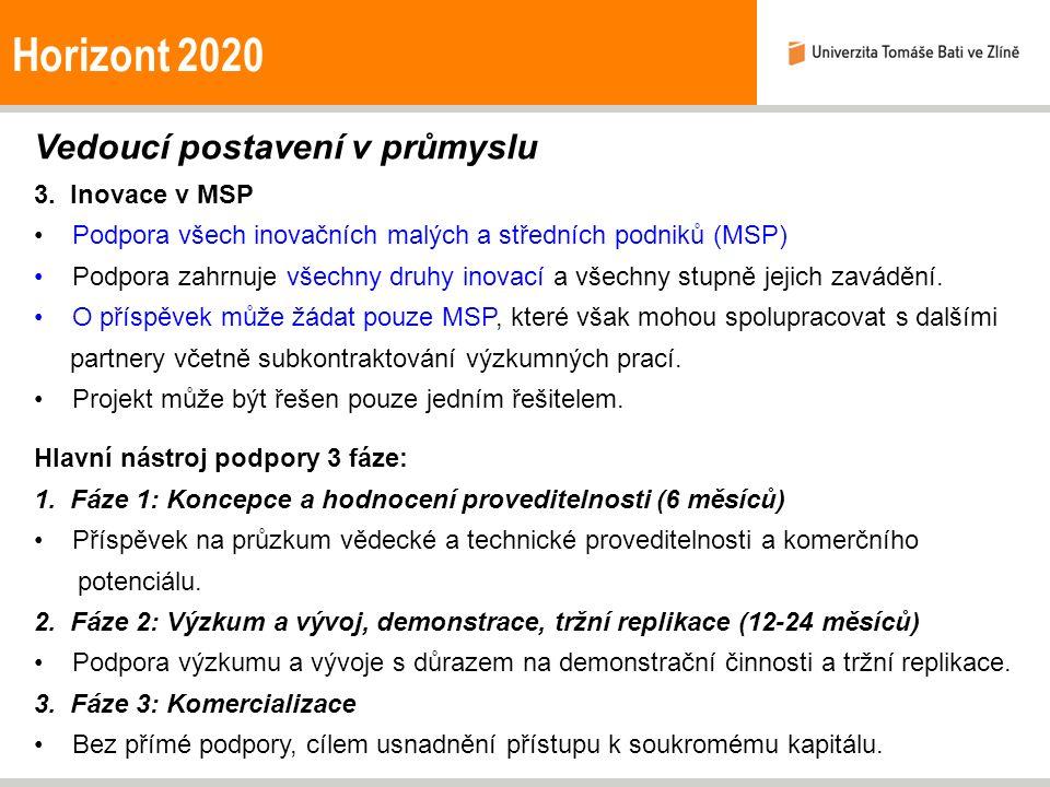 Horizont 2020 Vedoucí postavení v průmyslu 3. Inovace v MSP Podpora všech inovačních malých a středních podniků (MSP) Podpora zahrnuje všechny druhy i