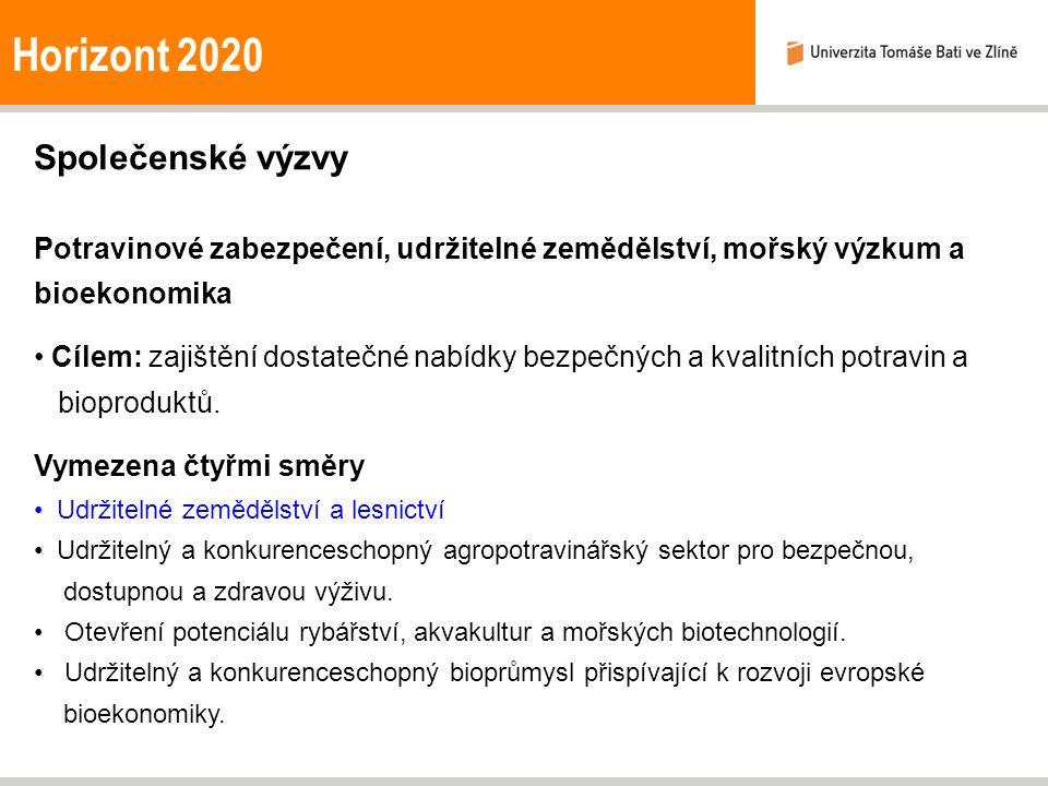 Horizont 2020 Společenské výzvy Potravinové zabezpečení, udržitelné zemědělství, mořský výzkum a bioekonomika Cílem: zajištění dostatečné nabídky bezpečných a kvalitních potravin a bioproduktů.