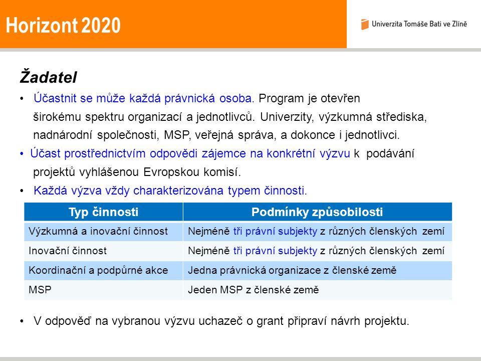 Horizont 2020 Žadatel Účastnit se může každá právnická osoba. Program je otevřen širokému spektru organizací a jednotlivců. Univerzity, výzkumná střed