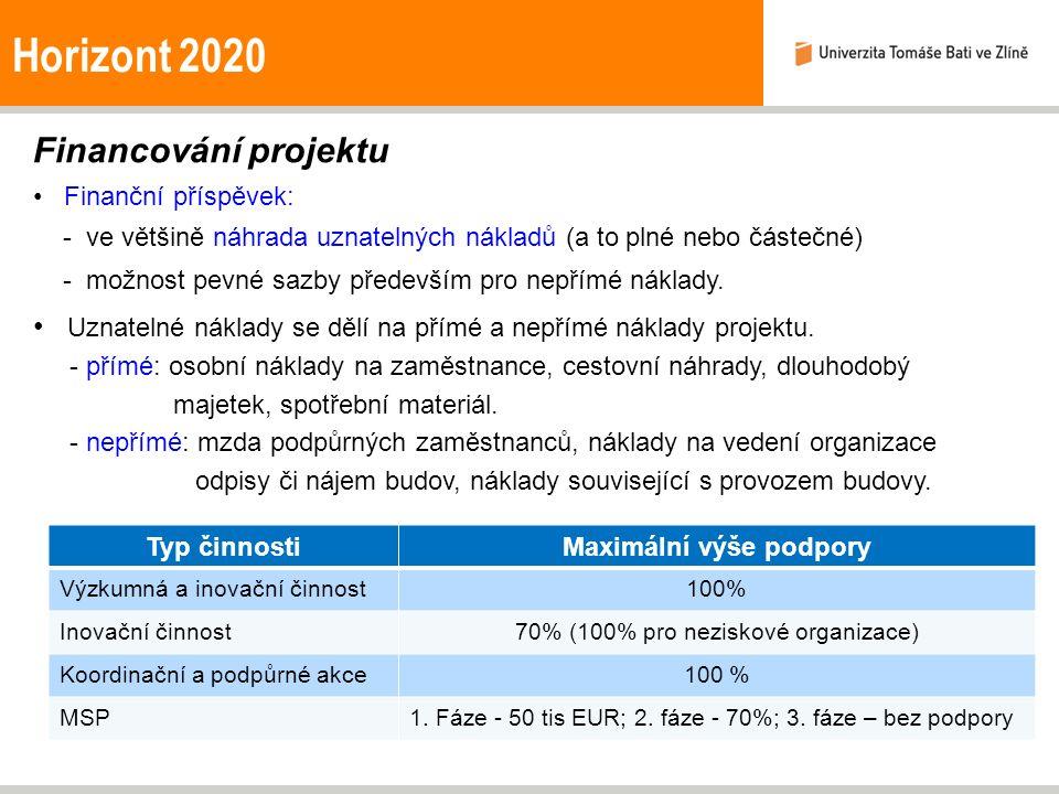 Horizont 2020 Financování projektu Finanční příspěvek: - ve většině náhrada uznatelných nákladů (a to plné nebo částečné) - možnost pevné sazby především pro nepřímé náklady.