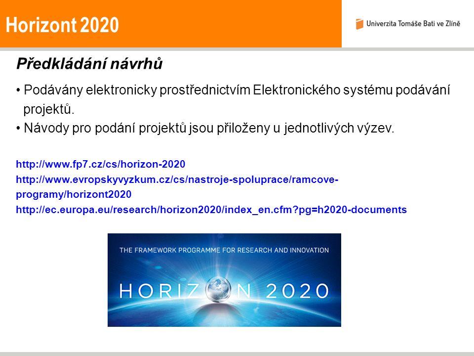 Horizont 2020 Předkládání návrhů Podávány elektronicky prostřednictvím Elektronického systému podávání projektů. Návody pro podání projektů jsou přilo