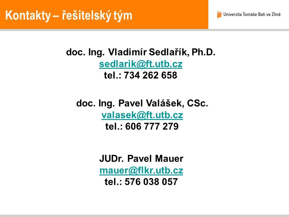 Kontakty – řešitelský tým doc. Ing. Vladimír Sedlařík, Ph.D. sedlarik@ft.utb.cz tel.: 734 262 658 doc. Ing. Pavel Valášek, CSc. valasek@ft.utb.cz tel.