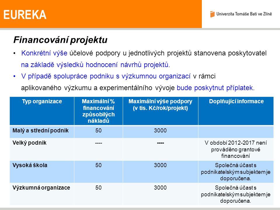 EUREKA Financování projektu Konkrétní výše účelové podpory u jednotlivých projektů stanovena poskytovatel na základě výsledků hodnocení návrhů projektů.