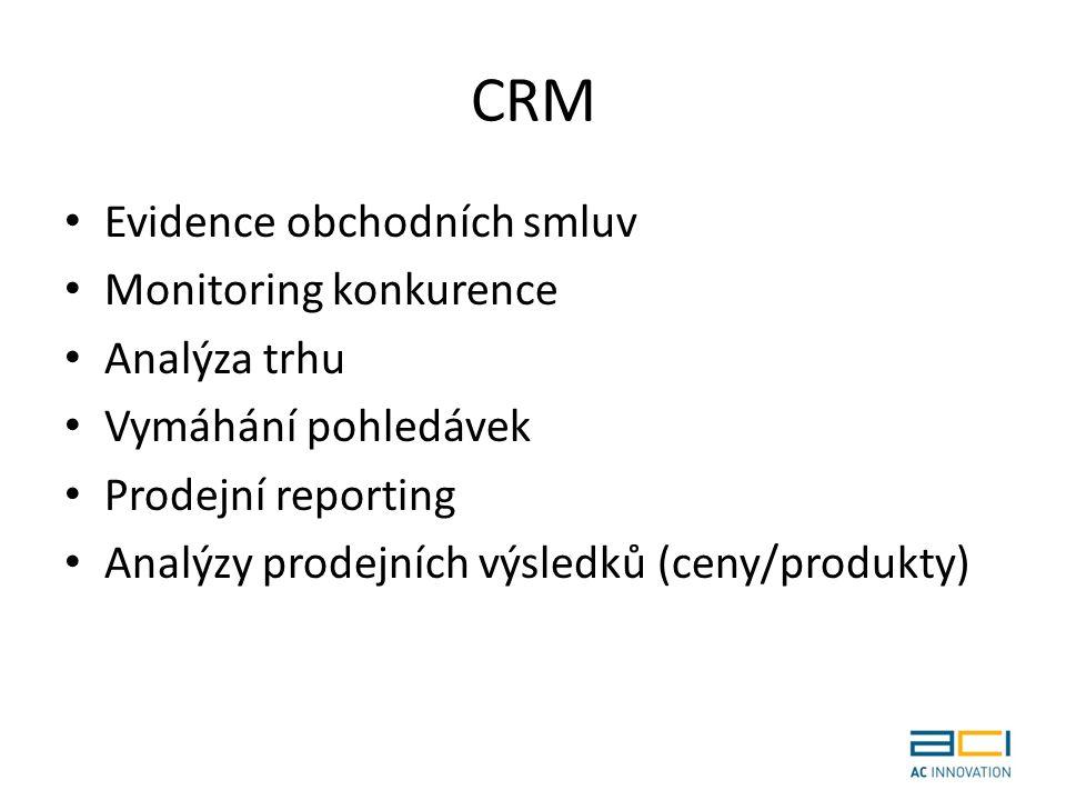CRM Evidence obchodních smluv Monitoring konkurence Analýza trhu Vymáhání pohledávek Prodejní reporting Analýzy prodejních výsledků (ceny/produkty)