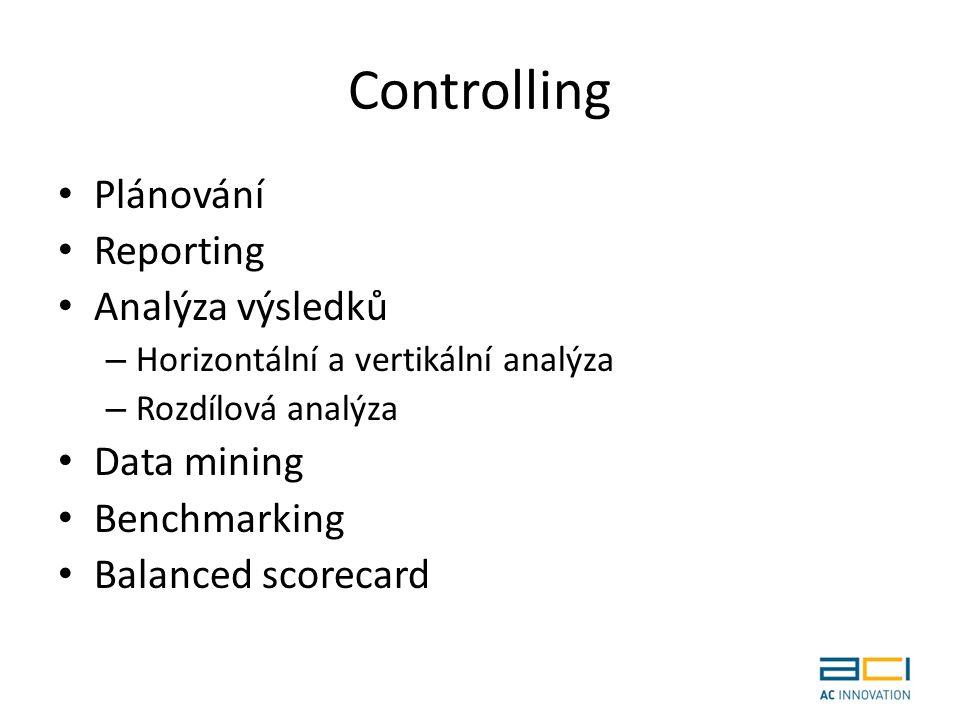 Controlling Plánování Reporting Analýza výsledků – Horizontální a vertikální analýza – Rozdílová analýza Data mining Benchmarking Balanced scorecard