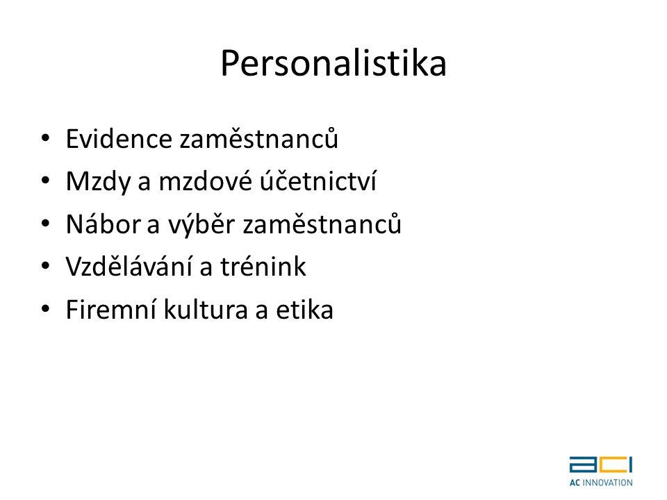 Personalistika Evidence zaměstnanců Mzdy a mzdové účetnictví Nábor a výběr zaměstnanců Vzdělávání a trénink Firemní kultura a etika