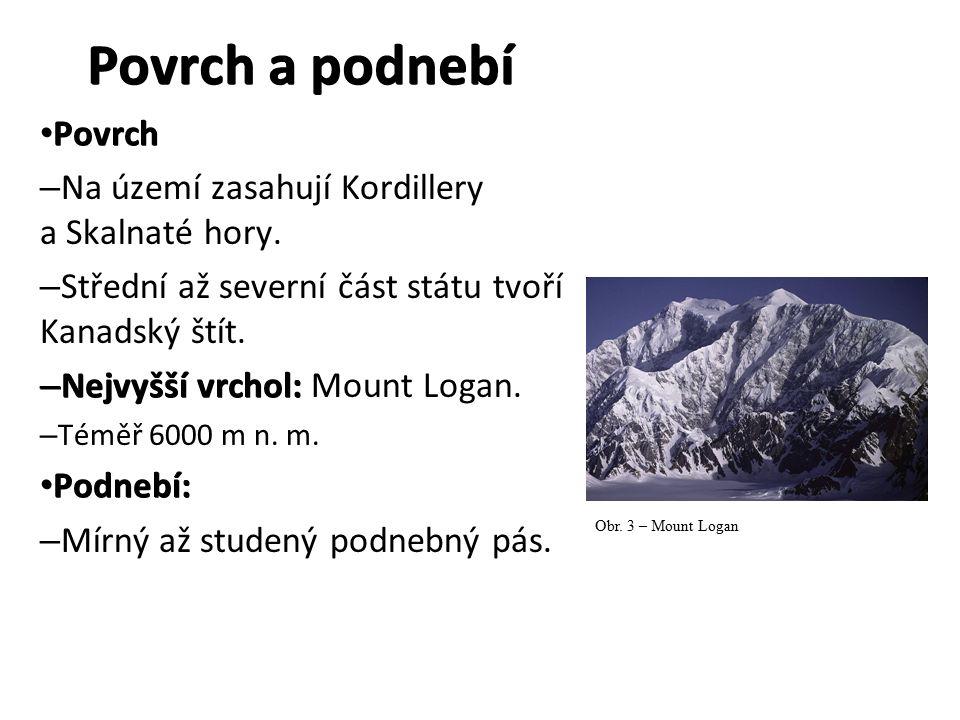 Povrch a podnebí Povrch Povrch – Na území zasahují Kordillery a Skalnaté hory.