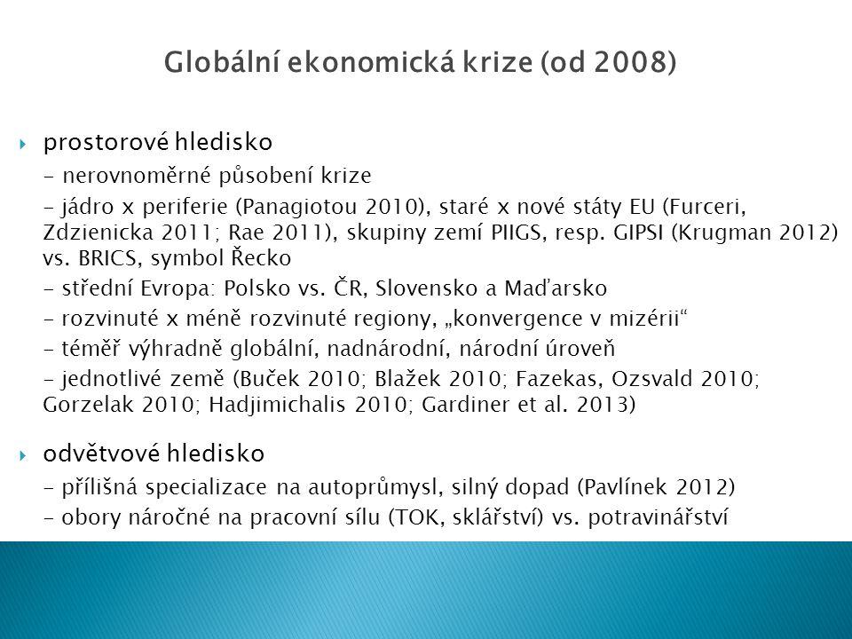  prostorové hledisko - nerovnoměrné působení krize - jádro x periferie (Panagiotou 2010), staré x nové státy EU (Furceri, Zdzienicka 2011; Rae 2011), skupiny zemí PIIGS, resp.
