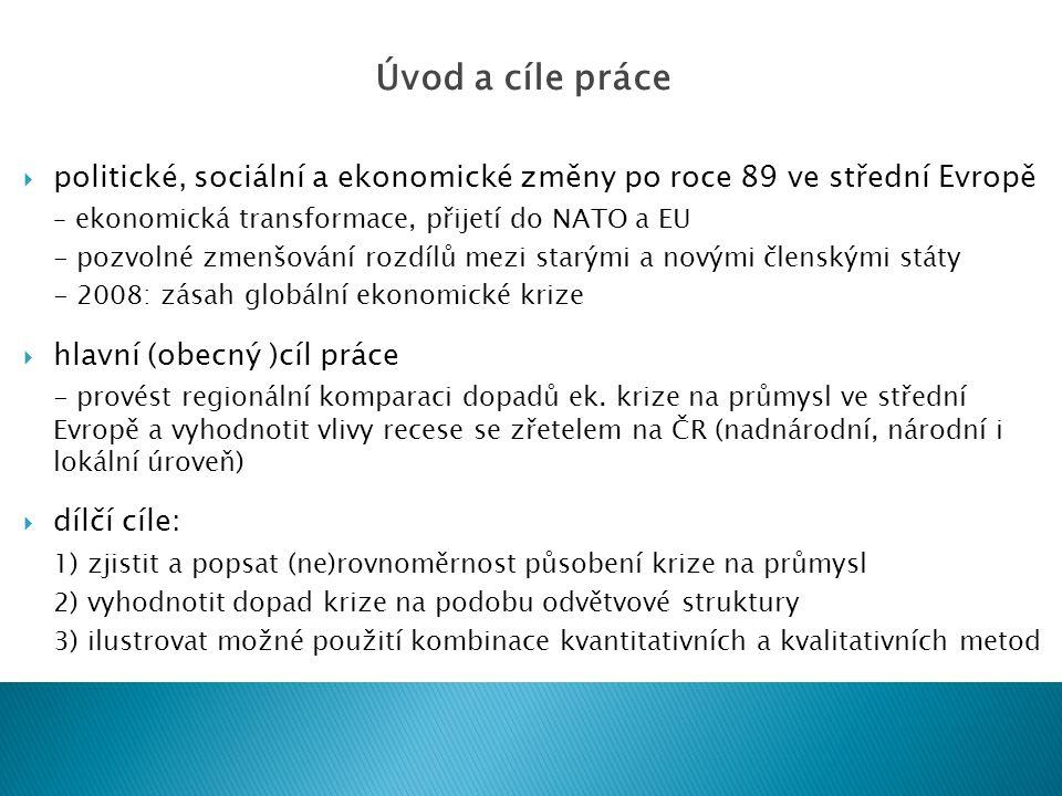 politické, sociální a ekonomické změny po roce 89 ve střední Evropě – ekonomická transformace, přijetí do NATO a EU - pozvolné zmenšování rozdílů mezi starými a novými členskými státy - 2008: zásah globální ekonomické krize  hlavní (obecný )cíl práce - provést regionální komparaci dopadů ek.